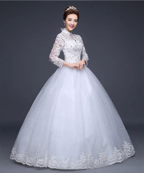 Blus Muslim White sleeve lace plus size wedding dresses wedding