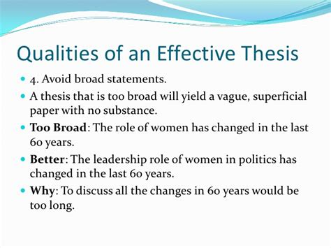 qualities of a thesis statement how many characteristics does an effective thesis