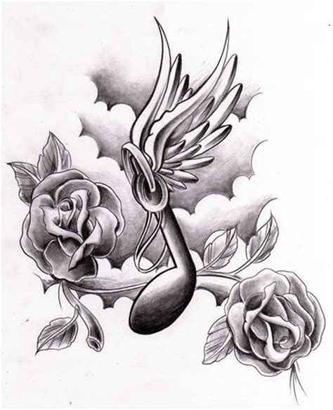 tattoo flash music music notes with wings by willemxsm deviantart com on