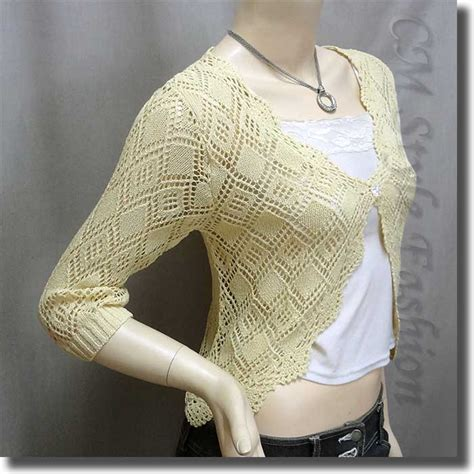Scallop Knit Top scallop edge crochet knit cardigan sweater top beige s ebay