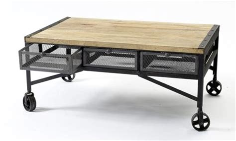 Caster Wheel Coffee Table Tribeca Industrial Mesh Drawer Caster Wheel Coffee Table Kathy Kuo Home