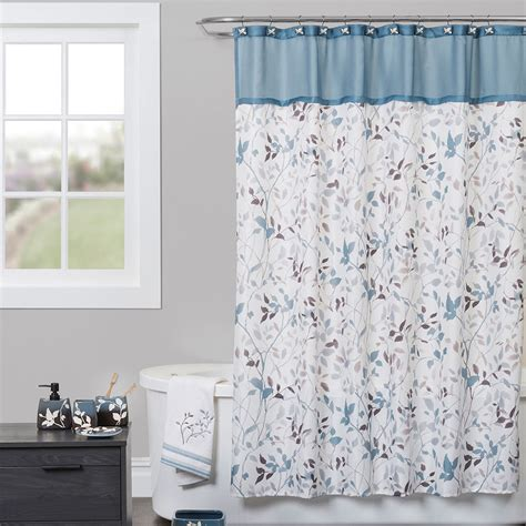 blue bathroom shower curtains passell vining foliage shower curtain