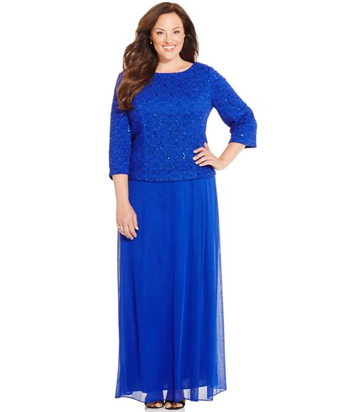 Back Lace Dress W398 lyst alex evenings plus size sequined lace cowl back dress in blue