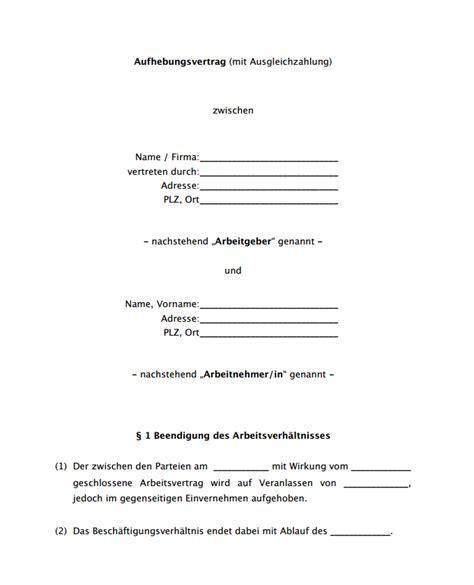 Vorlage Kündigung Arbeitsvertrag Bitte Aufhebungsvertrag Aufhebungsvertrag Mit Abfindung Vorlage Als