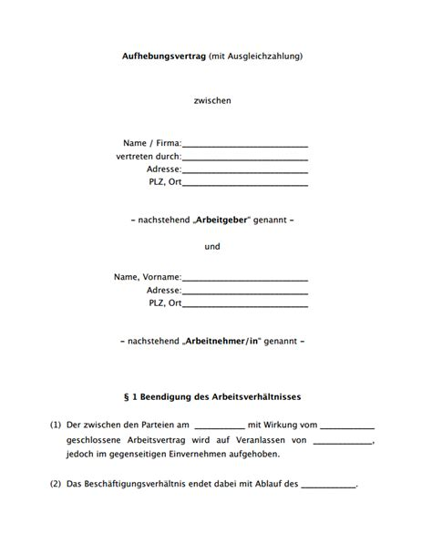Schreiben Aufhebungsvertrag Muster K 252 Ndigung Aufhebungsvertrag Muster Yournjwebmaster