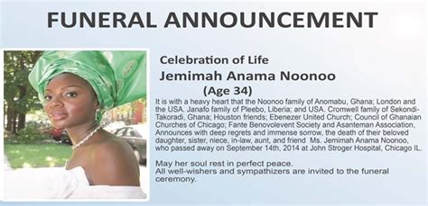 Funeral Announcement For The Late Jemimah Noonoo Sankofa Online Serving The Ghanaian Funeral Flyer Template