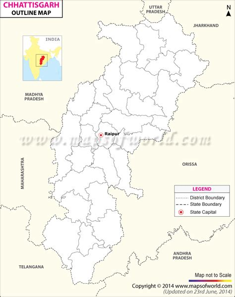 Chattisgarh Outline Map