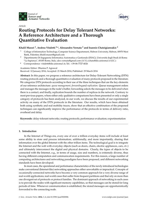 Delay Tolerant Network Research Paper by Routing Protocols For Delay Tolerant Networks A Reference Architecture And A Thorough