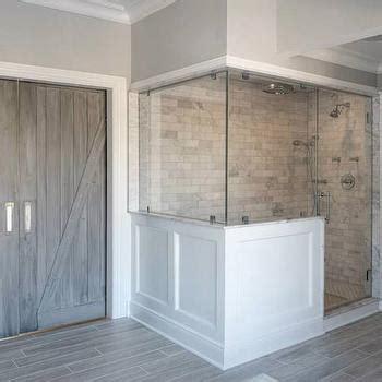 guest bath plank style floor tiles in gray sarah wood like tile transitional bathroom benjamin moore