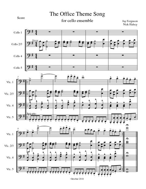 the office theme song cello expressions sheet library