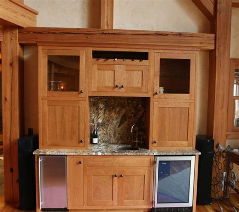 Built In Bar Cabinets Timber Frame Cabinetry New Energy Works