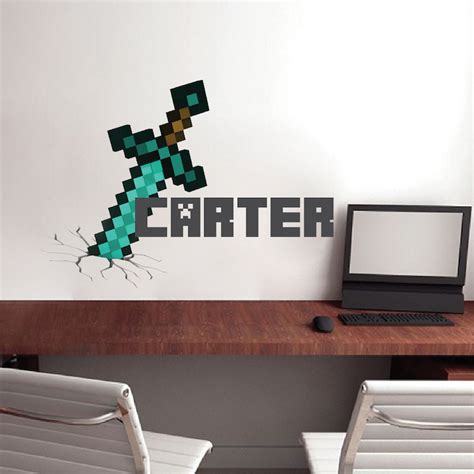 minecraft bedroom decals boys sword personalized name wall decal bedroom design