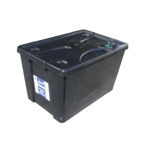 rubber st storage containers award 50l black storage container with lid and wheels