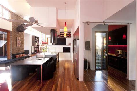 sliding doors to butlers pantry kitchen modern with