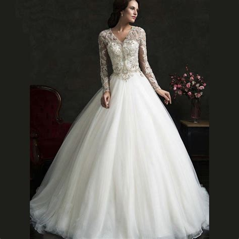 modest lace wedding dresses with sleeves vintage lace bridal dresses with pearl v neck beading