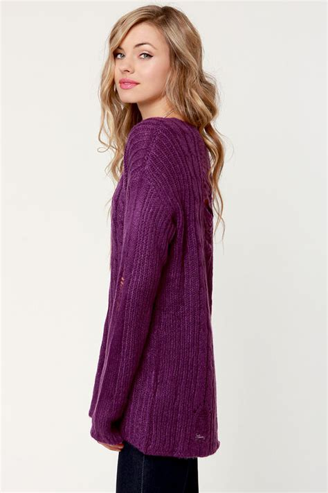 Premium Cable Sweater by Purple Sweater Cable Sweater Oversized Sweater