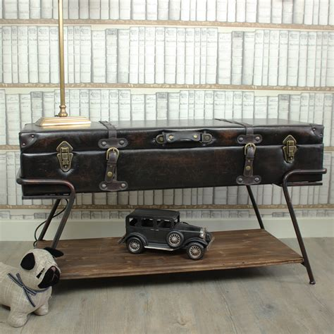 leather trunk coffee table faux leather trunk on a stand coffee table melody maison 174