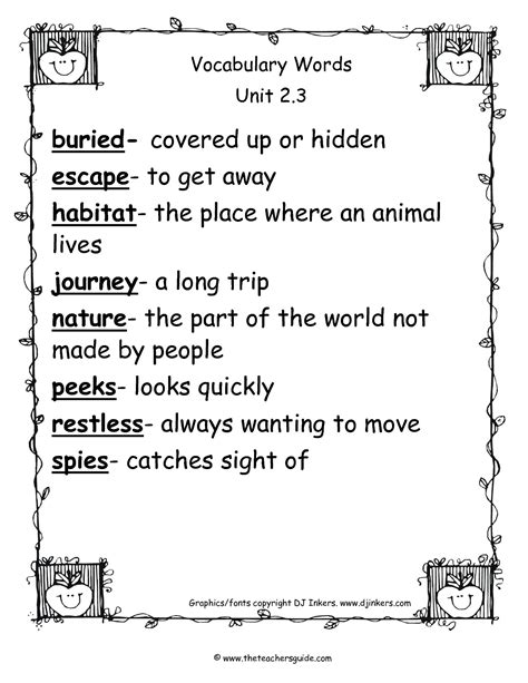 vocabulary words for 2nd grade with definitions free