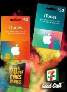 Gift Cards At 7 11 - expired save 20 off itunes gift cards at 7 eleven gift cards on sale