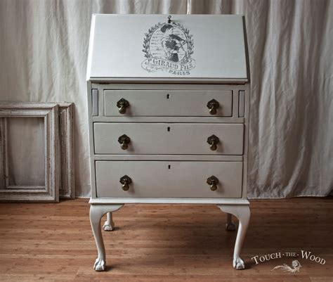 shabby chic furnishings vintage shabby chic bureau with print no 22 touch the wood