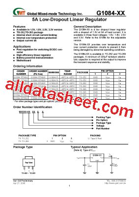 transistor g1084 33 g1084 33t43u 데이터시트 pdf global mixed mode technology inc