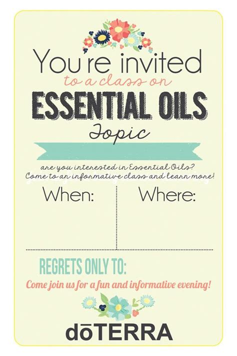 4x6 Doterra Class Invitation Instant Download Printable Invite People To Your Doterra Class With Doterra Invite Template
