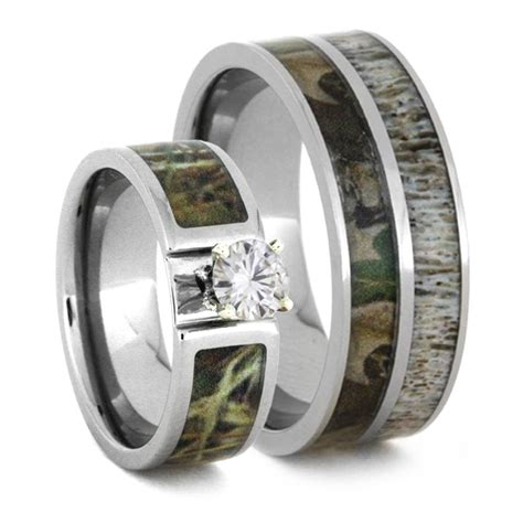 camo wedding ring set with moissanite and deer antler