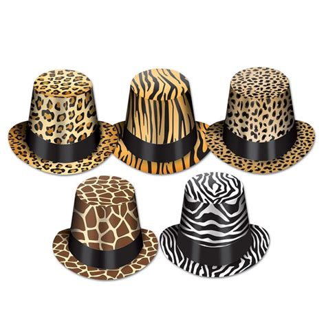 leopard print centerpieces assorted animal print hi hats sold 25 per box partycheap