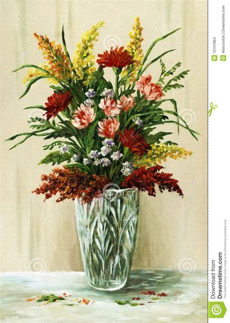 Bouquet Of Flowers In A Vase by Bouquet Of Flowers In A Vase Stock Illustration