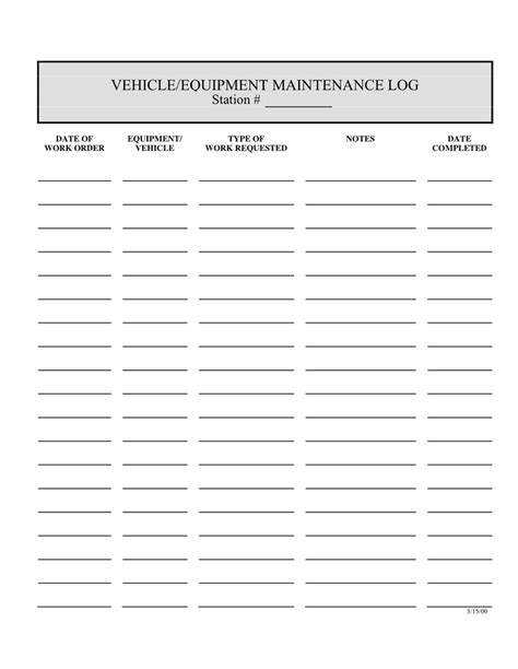 Vehicle Equipment Maintenance Log Template In Word And Pdf Formats Equipment Maintenance Log Template Free