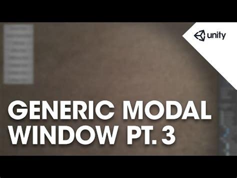 unity tutorial modal window making a generic modal window pt 3 unity