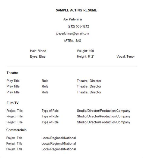 Free Acting Resume Template by How To Create A Acting Resume Template