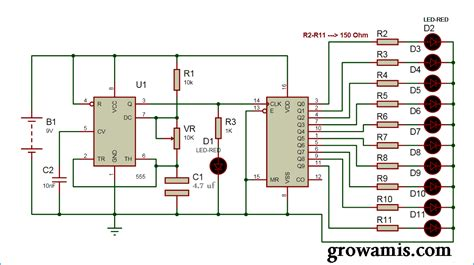 layout running led 20 led led chaser circuit diagram using ic 555 and cd 4017 grow