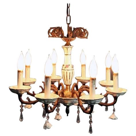Antique Brass Chandeliers For Sale by Antique Brass And Porcelain Eight Light Chandelier Circa
