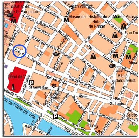 marais map la verrerie apartment furnished in le marais for vacation
