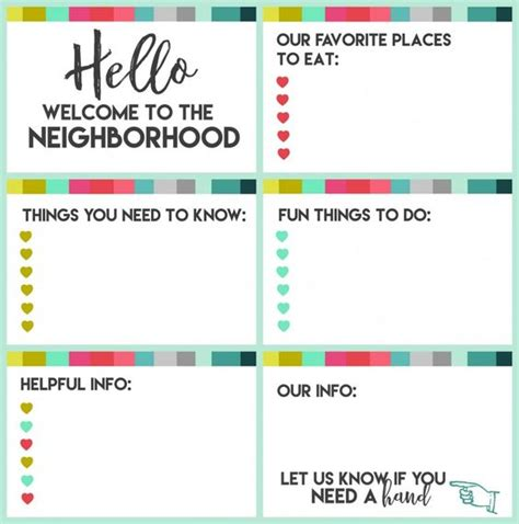 Welcome To The Neighborhood Card Template by New Welcome Gift With Printable New