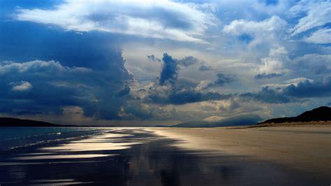 sea pacific ocean mountains evening clouds sky beach