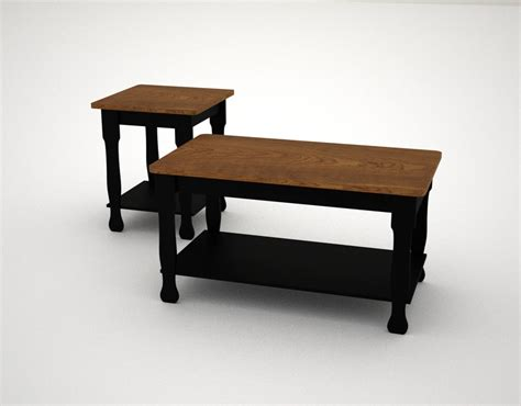 farmhouse coffee table and end tables 3d model farmhouse coffee table end
