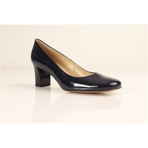 kaiser plata navy blue patent court shoe with