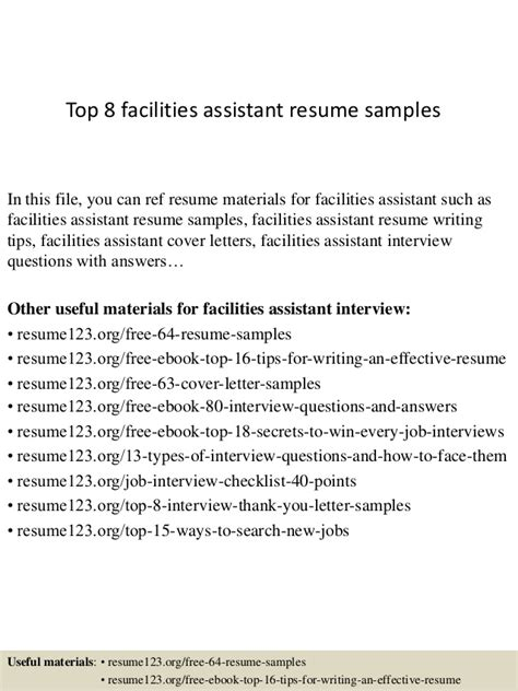 Facilities Assistant Cover Letter by Top 8 Facilities Assistant Resume Sles