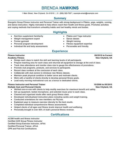 resume format for freelance trainers best fitness and personal trainer resume exle livecareer