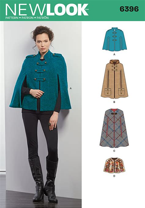 sewing pattern cape new look 6396 misses cape capelet cape and military