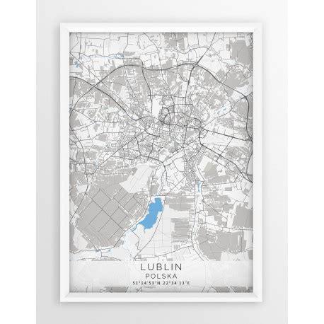 Plakat Lublin by Plakat Mapa Lublin Seria Gray Blue