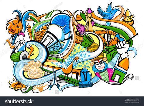 doodle of india vector illustration colorful doodle on india stock vector