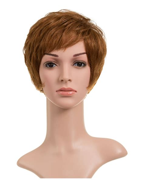 comfortable wigs soft comfortable ladies short wavy human hair wig with
