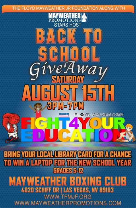 Back To School Giveaways - back to school giveaway 2015 the floyd mayweather jr foundation
