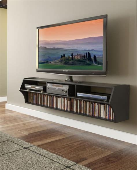 black 58 quot wall mount floating tv stand altus plus shelf