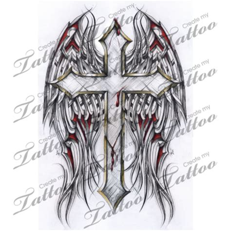 tattoo design krus marketplace tattoo gothic cross and tribal wings 2886