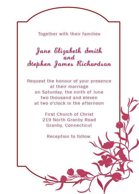 invitation card border templates burgundy floral wedding invitation printables paper