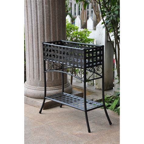 Outdoor Standing Clock With Planter by Elevated Rectangular Metal Planter Stand In Black Wrought